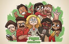 Parks and Recreation! by hyperboy on DeviantArt Parks And Rec Memes, Parks And Recreation, Parcs And Rec, Parks Department, Leslie Knope, Cartoon Man, Comedy Central, Marvel Memes, Movies Showing