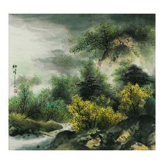 Love of Hometown Chinese Landscape Painting ❤ liked on Polyvore