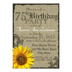 427 best country birthday party invitations images on pinterest western sunflower rustic 75th birthday invitation filmwisefo