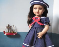 American Girl Doll Clothes - 18 Inch Doll Red Sailor Dress, Cap, Shoes - Vintage Doll Dress - Patriotic July 4 Doll Outfit - AG Doll Sailor