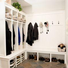 L Shaped Mudroom Home Design Ideas, Pictures, Remodel and Decor Pinterest Home Decor Ideas, Mudroom Laundry Room, Contemporary Interior Design, Entryway Decor, Entryway Bench, Bench Mudroom, Mudroom Cubbies, Bench Decor, Shoe Bench