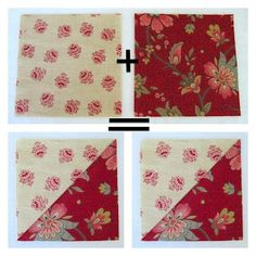 """half square triangle tutorial--not the usual plus 7/8"""". Fabric cut larger then squared and trimmed."""