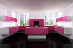 cuisine laquée ultra moderne en rose