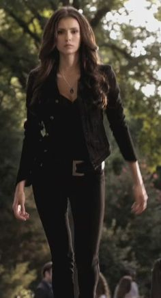 Nina Dobrev as Katherine Pierce - The Vampire Diaries  LOVE the hair and all Black !! katherine Badass :)