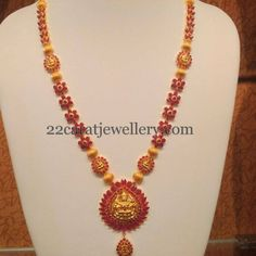 Ruby Floral Long Chain with Lakshmi | Jewellery Designs