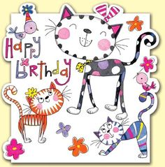 Cats And Birds Happy Birthday Card: Amazon.co.uk: Office Products