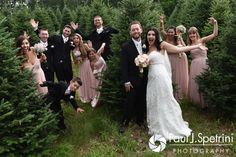Lauryn and Justin pose for a photo with their wedding party during their July 2016 wedding reception at the Overlook at Geer Tree Farm in Griswold, Connecticut.To see more photos from Justin and Lauryn's wedding, please visit http:// www.tinyurl.com/JustinAndLauryn (Copyright 2016: Paul J. Spetrini Photography)