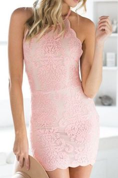 Spaghetti Strap Backless Lace Embroidered Bodycon Dress PINK:...