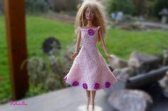 Puppenkleidung - Kleid mit Perlen für Barbie *** hellrosa/violett - ein Designerstück von Sabisilke bei DaWanda