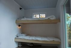 The tutorial on how we built DIY bunk beds in our cottage bunkie. Floating, minimalist, wood bunk beds in a grey wash finish. Kids Bedroom, Kids Bedroom Furniture, Diy Bunk Bed, Bed, Bedroom Furnishings, Bunkie, Bunks, Space Bedding, Bedroom Furniture