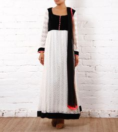 White Lace Anarkali Suit With Black Velvet Yoke