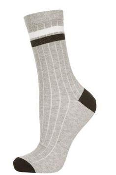 Grey Marl Two Stripe Ankle Socks