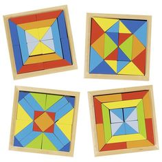 Set de 4 puzles geométricos de madera Wood Projects, Woodworking Projects, Art Games For Kids, Wood Crafts, Diy And Crafts, Wooden Words, Handmade Wooden Toys, Indoor Outdoor Furniture, Learning Apps