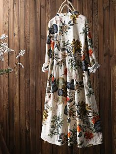 Leaves Floral Print Pleated Long Sleeve Vintage Dress is high-quality, see other cheap summer dresses on NewChic Mobile. Long Sleeve Vintage Dresses, Dresses With Sleeves, Cheap Summer Dresses, Summer Skirts, Dress Summer, Robes Vintage, Special Occasion Dresses, Casual Dresses, Stylish Dresses