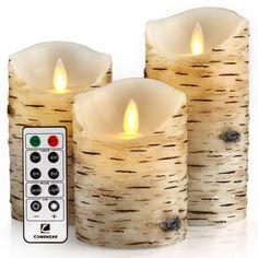 comenzar Flickering Candles, Candles Birch Set of 4 5 6 Birch Bark Battery Candles Real Wax Pillar with Remote Timer Battery Candles, Flameless Candles, Pillar Candles, Fireplace Candles, Window Candles, Candle Set, Candle Holders, Birch Bark, A Table