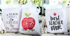Personalized Canvas Tote Bags for Teachers - 4 Design Options!  Great end-of-year gift idea!