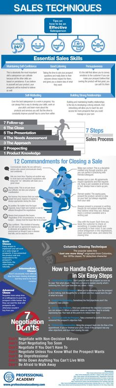 Sales Techniques help and advice from Industry Experts [Infographic]