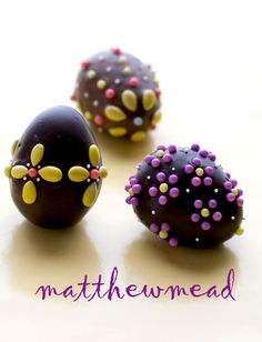 "Matthew Mead's chocolate eggs decorated with some ""SunDrops"" (candy and chocolate covered sunflower seeds) Perfection!"