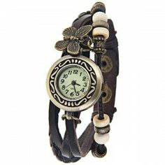 $5.02 Quartz Watch with Arabic Numbers Hour Marks Leather Band for Women - Dark Brown