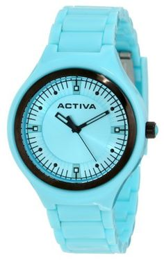 Activa By Invicta Unisex AA200-002 Light Blue Silver Dial Light Blue Plastic Watch Activa By Invicta. $39.60. Light blue silver tone dial with black hands and hour markers; black plastic bezel; luminous; black crown with light blue cabochon. Water-resistant to 50 M (165 feet). Swiss quartz movement. Mineral crystal; light blue plastic case and bracelet. Black second hand