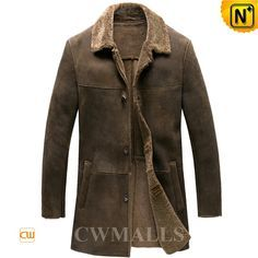 Men's Merino Sheepskin Shearling Trench Coat CW858351 Elegant Merino shearling coat for men crafted from Merino sheepskin with fur shearling material creating a comfortable, supple plush interior. Best quality rugged 3/4 length sheepskin coat featuring with front button closure,and warm side pockets. www.cwmalls.com PayPal Available (Price: $2678.89) Email:sales@cwmalls.com