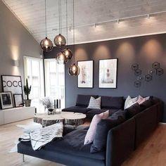 45 amazing gorgeous living room color schemes to make your room cozy 36 - Home Design Ideas Home Living Room, Interior Design Living Room, Living Room Designs, Living Room Decor, Living Spaces, Small Living, Interior Modern, Modern Living, Living Room Lighting Design