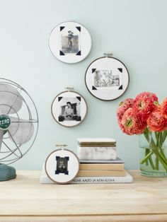 Highlight treasured family photos by swapping traditional picture frames for embroidery hoops. #DIY