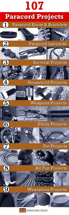 Over 100 paracord projects. Projects are listed by category, difficulty, and time. Perfect guide to keep track of new paracord project ideas.