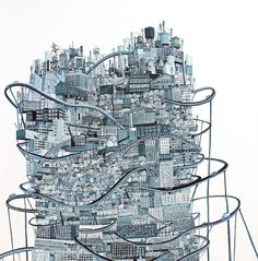 New work from Cleveland-based artist Amy Casey who paints delicate networks of roped and towering cityscapes.