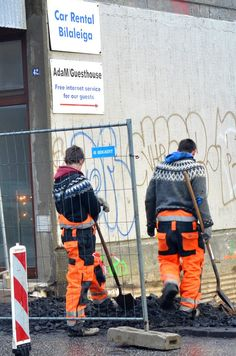 Just a couple hunky Icelandic construction workers wearing hand knit traditionally patterned lopapeysas. No big deal.