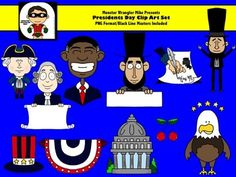 President's Day Clip Art Collection - PNG Files - For Personal or Commercial Use