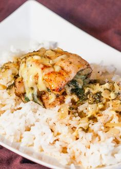 Spinach and Swiss Cheese Stuffed Chicken Thighs – simple and delicious recipe and only 300 calories per serving.
