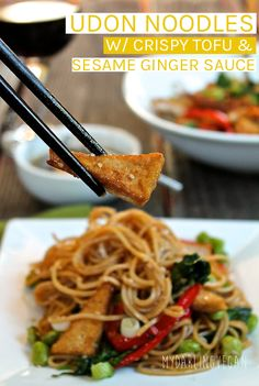 This udon noodle stir fry is made with crispy tofu and covered with a sweet ginger sauce for a hearty and delicious vegan meal that the whole family will love. #vegan #veganrecipes #stirfry #vegetarian #healthymeals