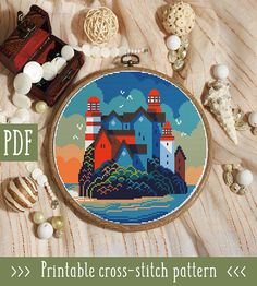 Lighthouse Town Cross Stitch Pattern This pattern is an instant download PDF. Size: 115w x 115h stitches 14 Count Aida: approx. 8.21 w x 8.21 h inches or 20.86 w x 20.86 h cm Stitches Required: Full cross stitches Colors Required: 16 DMC floss colors PDF Included: - Pattern in color