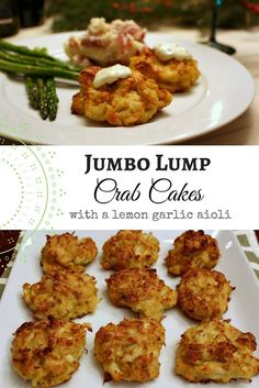 Jumbo Lump Crab Cakes - Oven Baked, Not Fried. Easy to make - 20 minutes to bake! Perfect for Valentine's Day Crab Cake Recipes, Fish Recipes, Appetizer Recipes, Best Crab Cake Recipe Ever, Party Recipes, Potato Recipes, Vegetable Recipes, Dinner Recipes, Gourmet