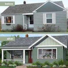 Exterior House Makeover Before And After Porch Addition 44 Ideas Home Exterior Makeover, Exterior Remodel, Home Design, Modern Design, Design Ideas, Front Porch Addition, Old Home Remodel, House With Porch, House Colors