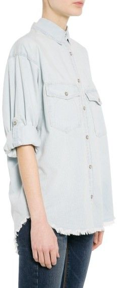 $59, Mango Outlet Frayed Denim Shirt. Sold by Mango. Click for more info: https://lookastic.com/women/shop_items/173692/redirect