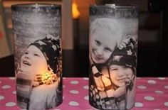 DIY GIFT: Photo Vases, Just purchase a clear long straight vase, print a black and white picture in vellum paper, wrap the said paper on the vase, stick both ends with a double sided tape, and put a battery-operated tea light inside. Voila!