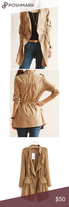 Kakhi Trench Coat Brand New Trench Coat. It's light weight very comfortable, perfect for on the go ladies.  It does have side pockets, adjustable drawstring waist to add more style. Made of soft cotton blend. Also size do run small, a Medium size is consider a SMALL in the U.S. Jackets & Coats Trench Coats