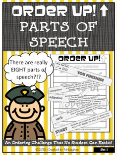 Order Up! Parts of Speech from Created by MrHughes on TeachersNotebook.com -  (7 pages)  - This set of ORDER UP! focuses on practicing identifying all 8 parts of speech and includes a journal writing component that asks he students to use what they just learned in a writing exercise.