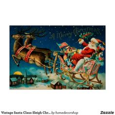 Vintage Santa Claus Sleigh Christmas Holiday Poster Vintage Santa Claus, Vintage Santas, Holiday Tops, Holiday Cards, Retro Christmas Decorations, Wooden Textures, Christmas Card Holders, Custom Posters, Christmas Holidays