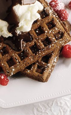 Chocolate-Cornmeal Waffles: Freeze leftovers and toast for an anytime treat. #InternationalWaffleDay