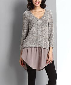 Look at this #zulilyfind! Oatmeal Mélange Layered Chiffon Tunic by Reborn Collection #zulilyfinds