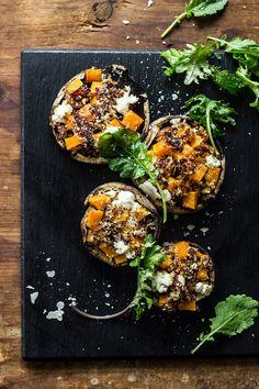 Butternut Squash Stuffed Mushrooms with Goat Cheese + Balsamic Glaze.