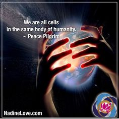 We are all cells in the same body of humanity. ~ Peace Pilgrim