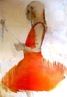 She's In Orange by Monica Adams Simple Drawings, Illustration Art, Illustrations, Virtual Art, I Am Amazing, Orange Oil, Orange Dress, Heart Art, Art Techniques