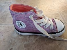 175180a620ec Extra Off Coupon So Cheap Toddler Girls High Top Converse Sparkle Purple  Sneakers Shoes Size 5