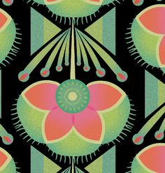 Llew Mejia - pink, orange, mint green, turquoise, black, embroidery, blanket, soft, graphic, pattern, repeat, botanical, flowers, floral