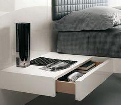 Wall mount white bedside bedroom table modern design