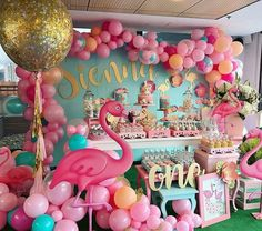 this for my party 🎈 Pink Flamingo Party, Flamingo Birthday, Luau Birthday, First Birthday Parties, Birthday Party Decorations, Flamenco Party, Deco Buffet, Tropical Party, Luau Party